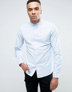 Голубая узкая оксфордская рубашка в строгом стиле с воротником на пуговице ASOS - Синий