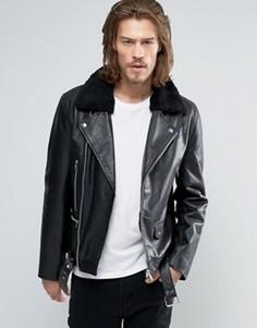 Байкерская кожаная куртка с воротником из искусственного меха ASOS - Черный
