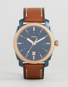 Часы со светло-коричневым кожаным ремешком Fossil FS5266 Machine - Рыжий