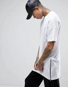Длинная фактурная футболка с молниями по бокам ASOS - Белый
