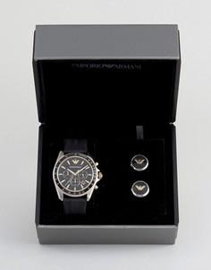 Часы с хронографом и запонки Emporio Armani AR80003 - Подарочный набор - Черный