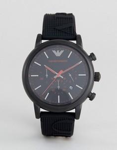 Часы с черным силиконовым ремешком Emporio Armani AR11024 - Черный