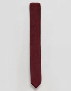 Бордовый вязаный галстук с острым концом ASOS - Красный