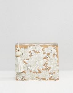 Белая сумка-клатч из джута с вышивкой и отделкой в виде жемчуга Star Mela - Белый