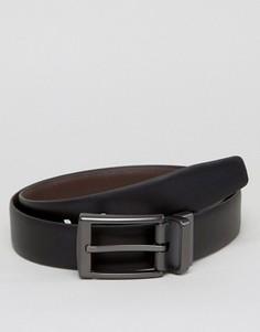 Двусторонний кожаный ремень с серебристой пряжкой Ben Sherman - Черный