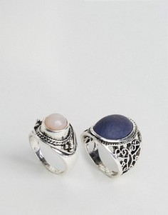 Design B Chunky Stone Rings - Серебряный