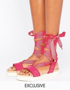 Miss KG Dakota Pink Pom Pom Tie Up Flat Sandals - Розовый