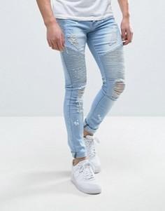 Выбеленные байкерские джинсы скинни с рваной отделкой Liquor & Poker - Синий