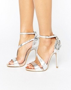 Miss KG Giselle Butterfly Metallic Heeled Sandals - Серебряный