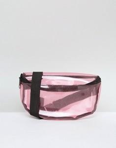Прозрачная сумка-кошелек на пояс с блестками Missguided - Розовый