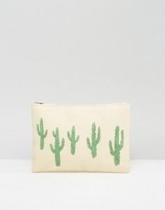 Соломенный клатч на молнии с кактусами South Beach - Мульти