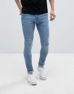 Синие выбеленные джинсы скинни Hoxton Denim - Синий