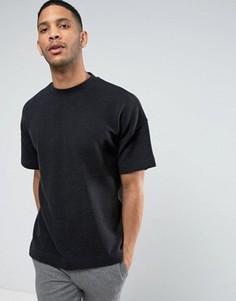 Свободная oversize-футболка в плотный рубчик ASOS - Черный