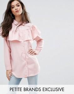 Рубашка в полоску с длинными рукавами и оборкой Missguided Petite - Мульти