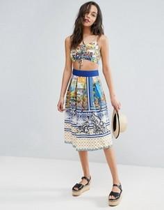 Комбинируемая юбка миди с принтом ASOS - Мульти