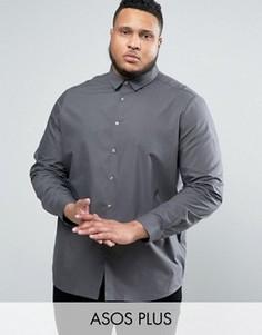 Темно-серая рубашка классического кроя ASOS PLUS - Серый