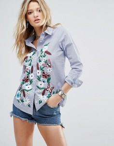 Свободная рубашка в тонкую полоску с цветочной вышивкой Glamorous - Мульти