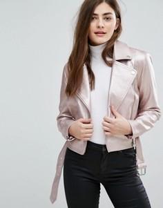 Байкерская куртка из искусственной кожи с эффектом металлик New Look - Розовый