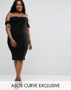 Платье миди с широким вырезом и оборками ASOS CURVE - Черный