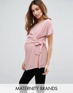 Топ с короткими рукавами и декоративным узлом Mamalicious - Розовый Mama.Licious