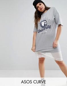 Платье-футболка миди с сетчатым подолом в крапинку ASOS CURVE Cleveland - Серый