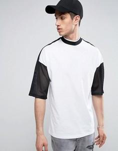 Oversize-футболка с сетчатыми рукавами и высоким воротом ASOS - Белый