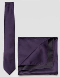 Фиолетовый галстук и платок для пиджака ASOS WEDDING - Фиолетовый