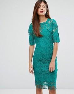 Кружевное платье с высоким воротом Paperdolls - Зеленый
