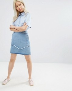 M.i.h Jeans Denim Mini Skirt with Fray Detail - Синий