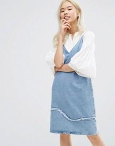 M.i.h Jeans Strappy Denim Dress with Fray Detail - Синий