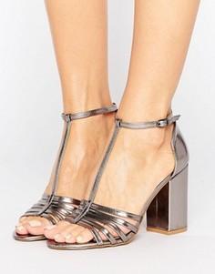 Босоножки металлик на блочном каблуке New Look - Серебряный