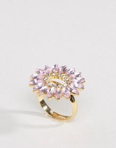 Пыльно-розовое броское кольцо с камнями Johnny Loves Rosie - Золотой