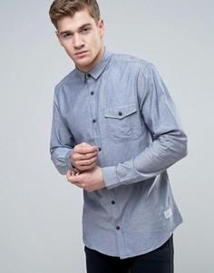 Узкая рубашка из шамбре с длинными рукавами и планкой на пуговицах Jack & Jones Core - Синий