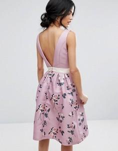 Платье миди 2 в 1 с глубоким вырезом сзади Chi Chi London - Мульти