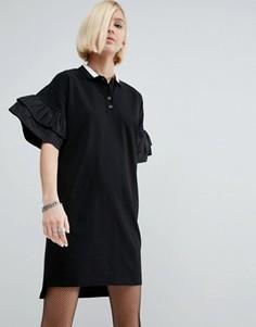 Платье-поло с ткаными оборками на рукавах ASOS - Черный