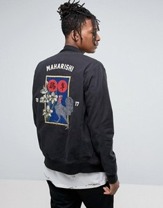 Maharishi Souvenir Jacket In Black With Embroidery - Черный