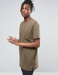 Maharishi T-Shirt In Khaki With Large Pocket - Зеленый