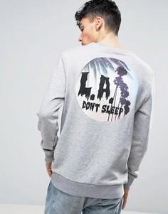 Свитшот с принтом на спине Systvm LA Never Sleep - Серый
