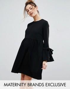 Свободное платье с рукавом-колоколом и завязками Queen Bee - Черный