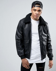 Куртка с воротником борг Threadbare - Черный