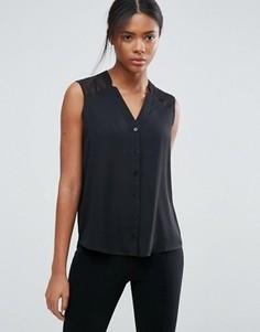 Блузка без рукавов с V-образным вырезом и разрезами ASOS - Черный