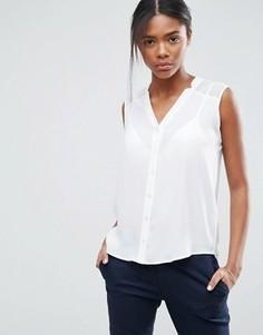 Блузка без рукавов с V-образным вырезом и разрезами ASOS - Белый