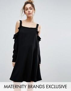 Платье с открытыми плечами и оборками Queen Bee - Черный