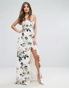 Платье макси с принтом и запахом Stylestalker - Мульти