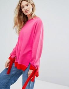 Oversize-свитшот с завязками на манжетах Outstanding Ordinary - Розовый