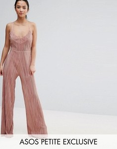 Плиссированный комбинезон с широкими штанинами ASOS PETITE - Розовый