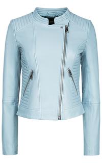 Голубая кожаная куртка La Reine Blanche