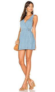 Float denim wrap mini pinnie dress - MINKPINK