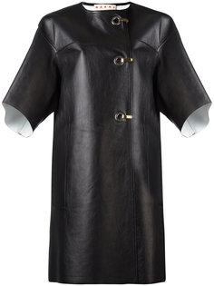 кожаное пальто с застежкой на крючки Marni