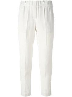 укороченные брюки с эластичным поясом Brunello Cucinelli
